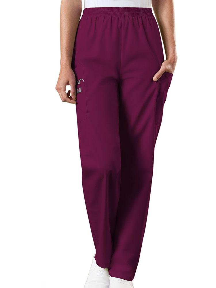 Cherokee Workwear Originals Women's Natural Rise Tapered Pull-On Scrub Pant | Wine - Scrub Pro Uniforms