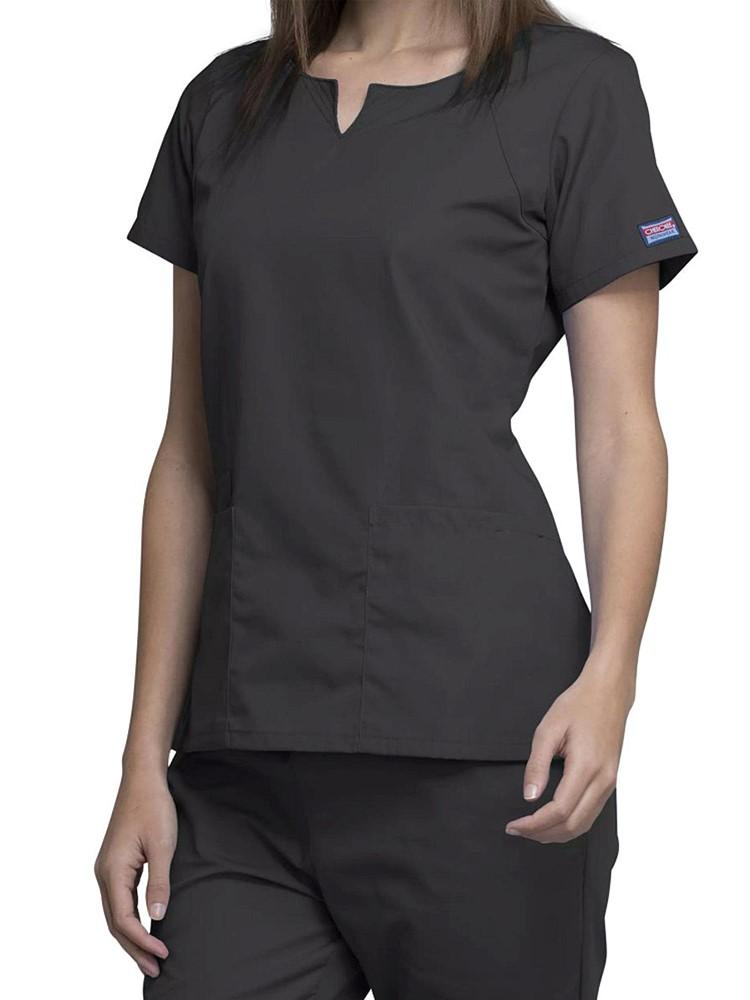 Cherokee Workwear Originals Women's Notch Crew Round Neck Scrub Top | Pewter - Scrub Pro Uniforms