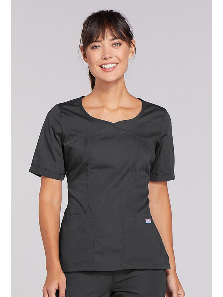 Cherokee Workwear Originals Women's Novelty Crossed V-neck Scrub Top | Pewter - Scrub Pro Uniforms