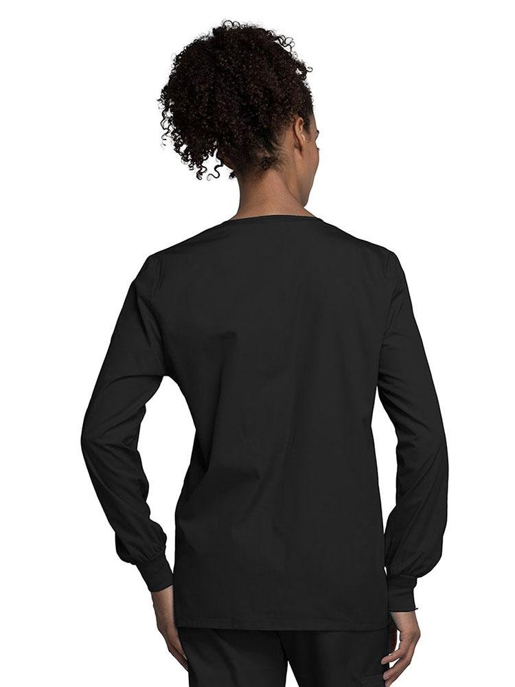 Cherokee Workwear Originals Women's Snap Front Warm-Up Jacket | Black - Scrub Pro Uniforms