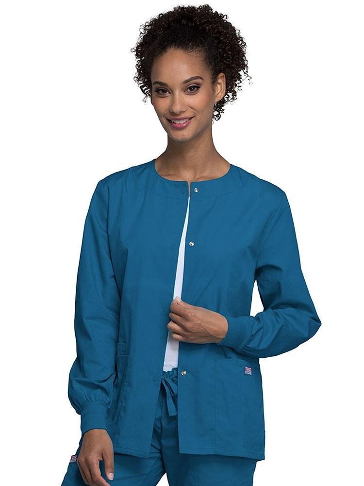 Cherokee Workwear Originals Women's Snap Front Warm-Up Jacket | Caribbean - Scrub Pro Uniforms