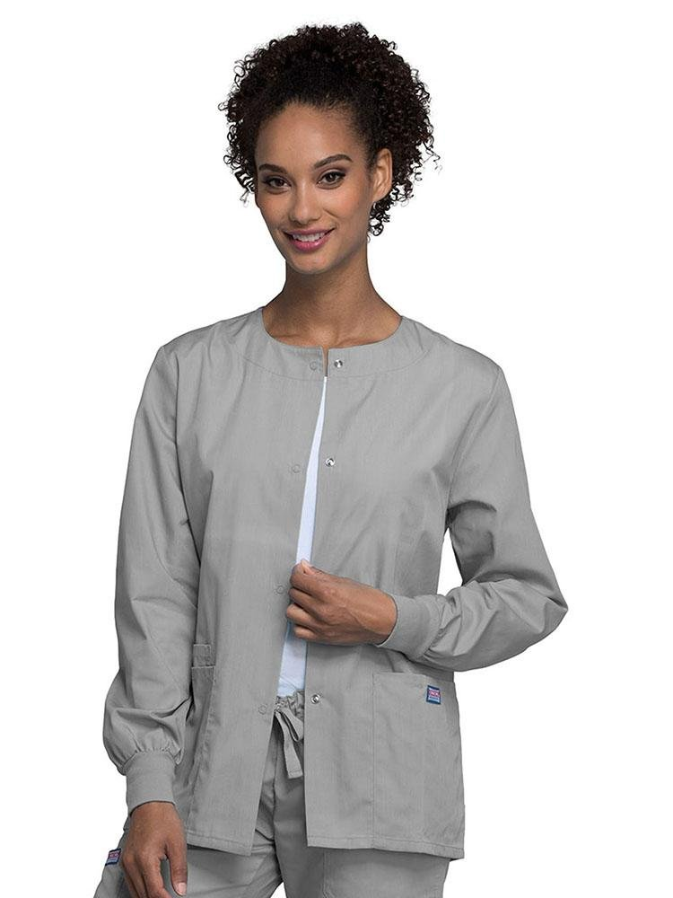 Cherokee Workwear Originals Women's Snap Front Warm-Up Jacket | Grey - Scrub Pro Uniforms