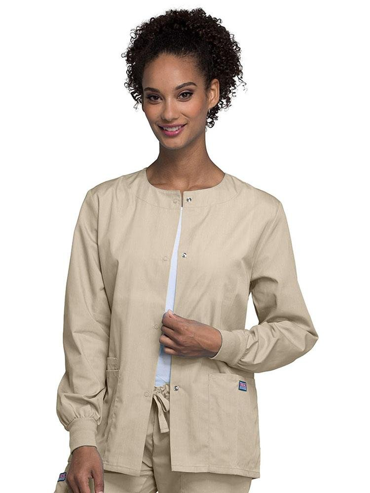 Cherokee Workwear Originals Women's Snap Front Warm-Up Jacket | Khaki - Scrub Pro Uniforms