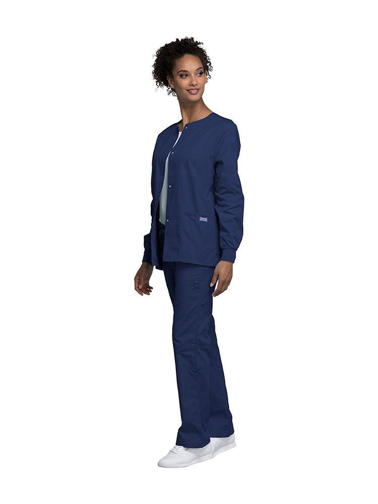 Cherokee Workwear Originals Women's Snap Front Warm-Up Jacket | Navy - Scrub Pro Uniforms