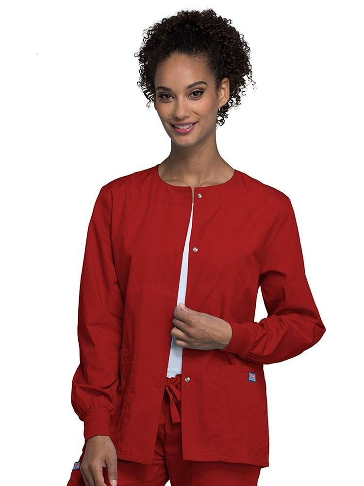 Cherokee Workwear Originals Women's Snap Front Warm-Up Jacket | Red - Scrub Pro Uniforms