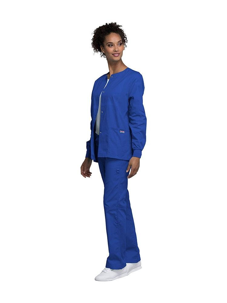 Cherokee Workwear Originals Women's Snap Front Warm-Up Jacket | Royal - Scrub Pro Uniforms