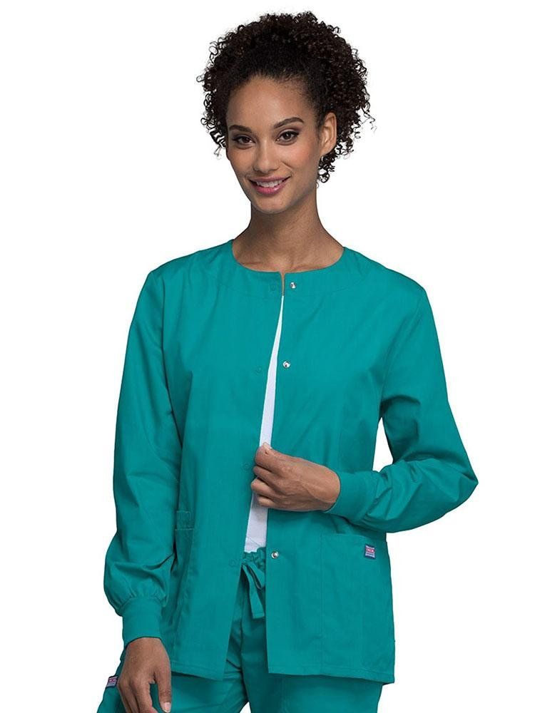 Cherokee Workwear Originals Women's Snap Front Warm-Up Jacket | Teal - Scrub Pro Uniforms