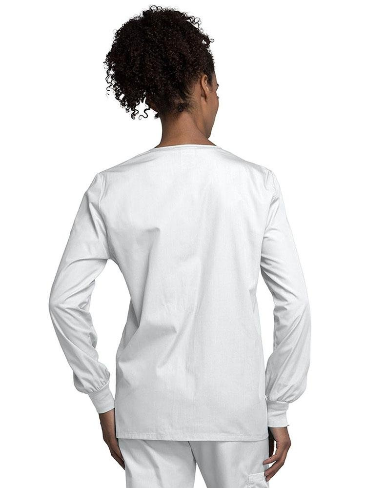 Cherokee Workwear Originals Women's Snap Front Warm-Up Jacket | White - Scrub Pro Uniforms