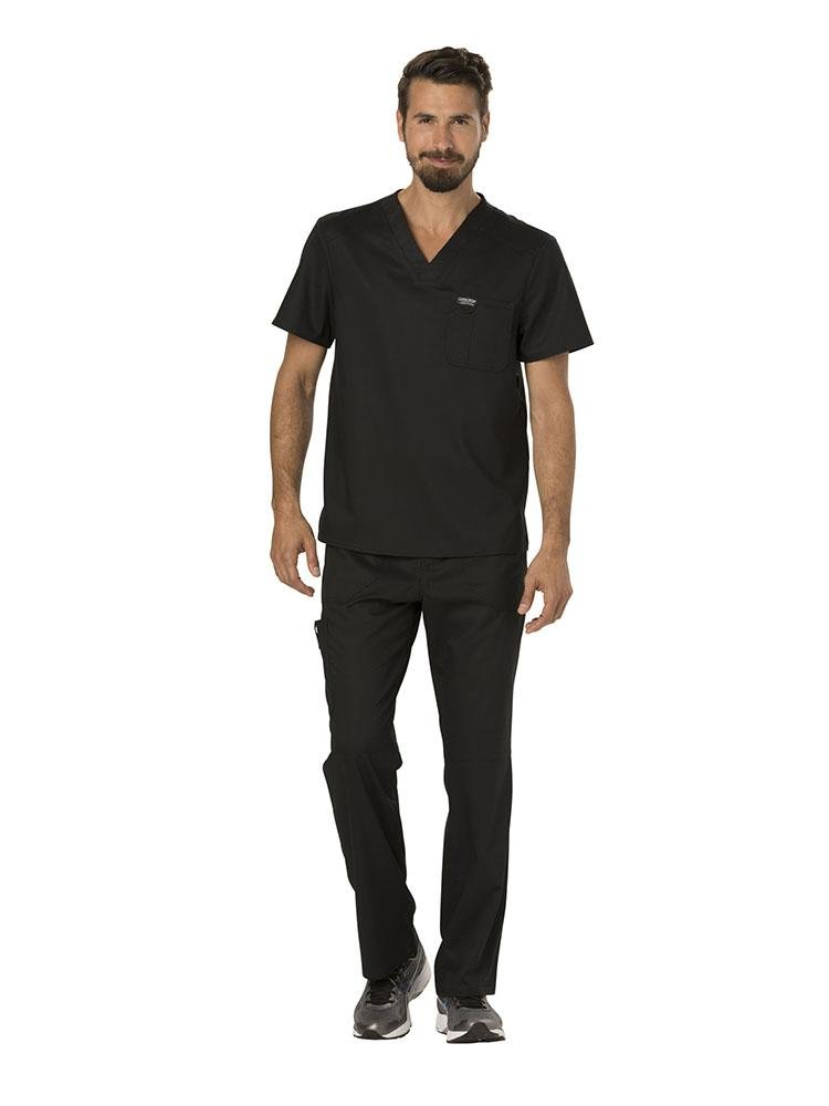 Cherokee Workwear Revolution Men's Single Pocket V-Neck Scrub Top | Black - Scrub Pro Uniforms