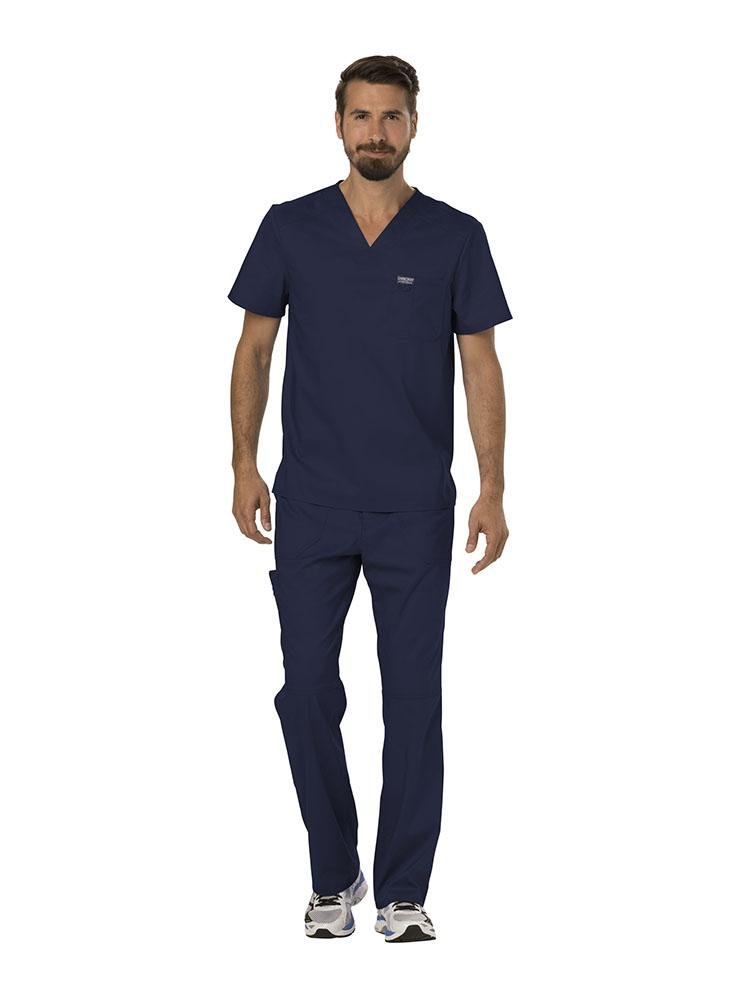Cherokee Workwear Revolution Men's Single Pocket V-Neck Scrub Top | Navy - Scrub Pro Uniforms