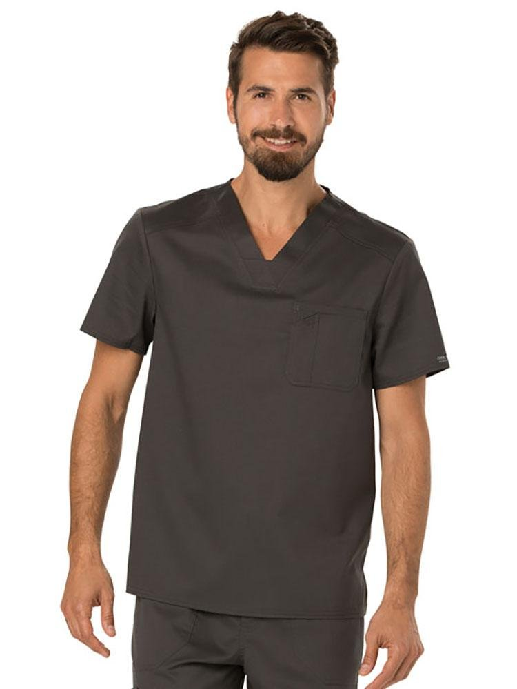 Cherokee Workwear Revolution Men's Single Pocket V-Neck Scrub Top | Pewter - Scrub Pro Uniforms
