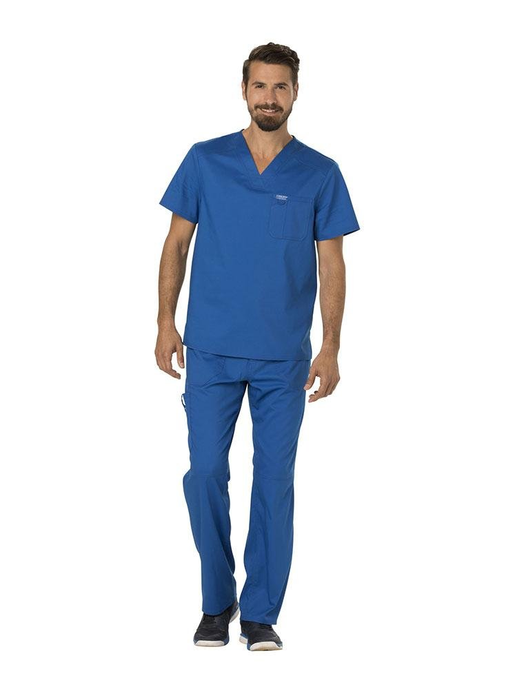 Cherokee Workwear Revolution Men's Single Pocket V-Neck Scrub Top | Royal - Scrub Pro Uniforms