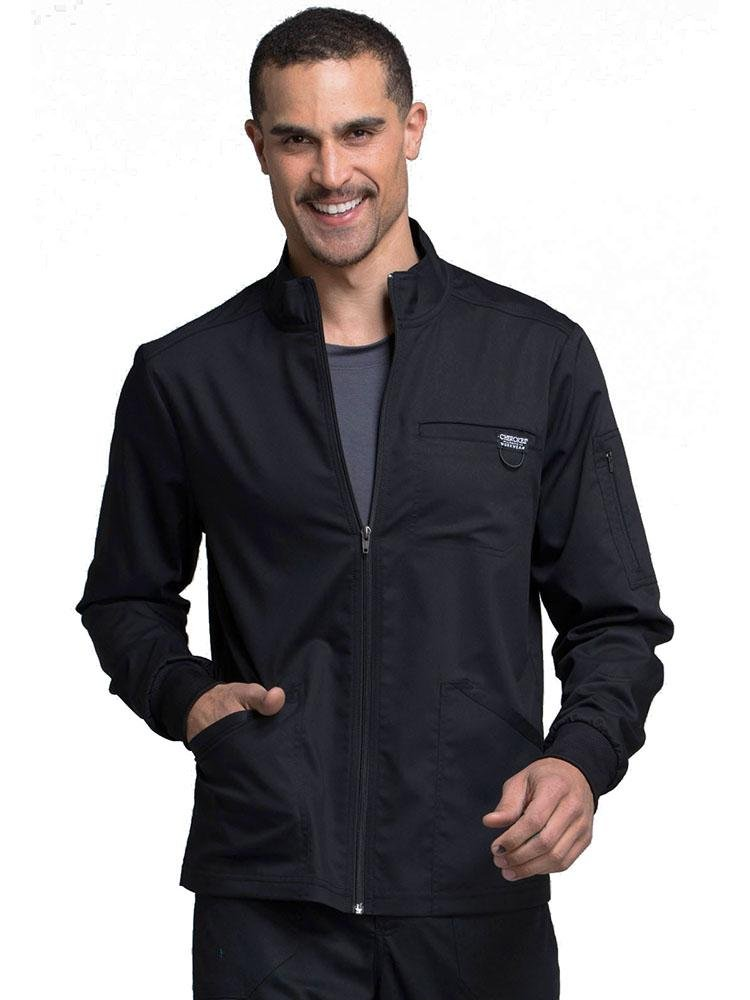 Cherokee Workwear Revolution Men's Zip Front Scrub Jacket | Black - Scrub Pro Uniforms