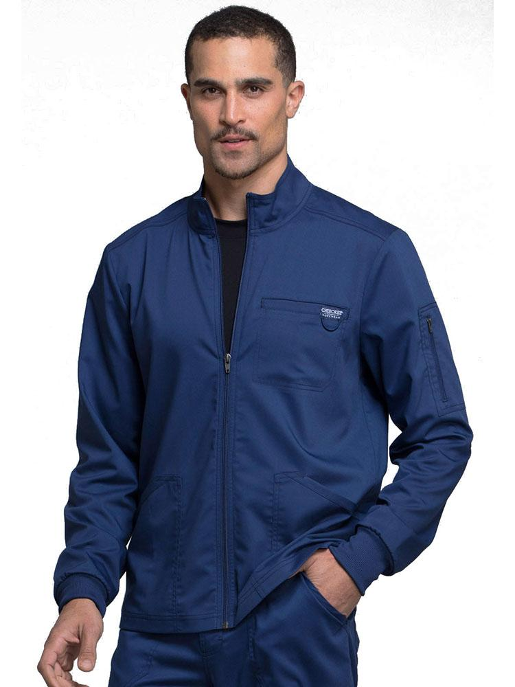 Cherokee Workwear Revolution Men's Zip Front Scrub Jacket | Navy - Scrub Pro Uniforms