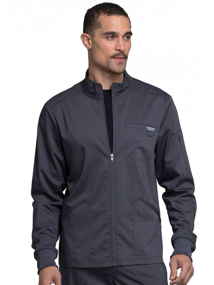 Cherokee Workwear Revolution Men's Zip Front Scrub Jacket | Pewter - Scrub Pro Uniforms