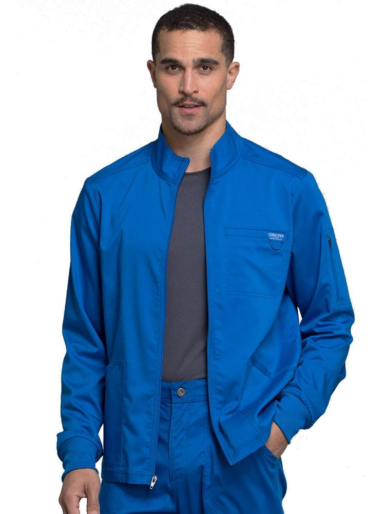 Cherokee Workwear Revolution Men's Zip Front Scrub Jacket | Royal - Scrub Pro Uniforms