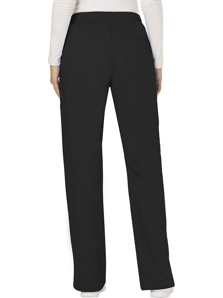 Cherokee Workwear Revolution Women's Mid Rise Moderate Flare Scrub Pant | Black - Scrub Pro Uniforms