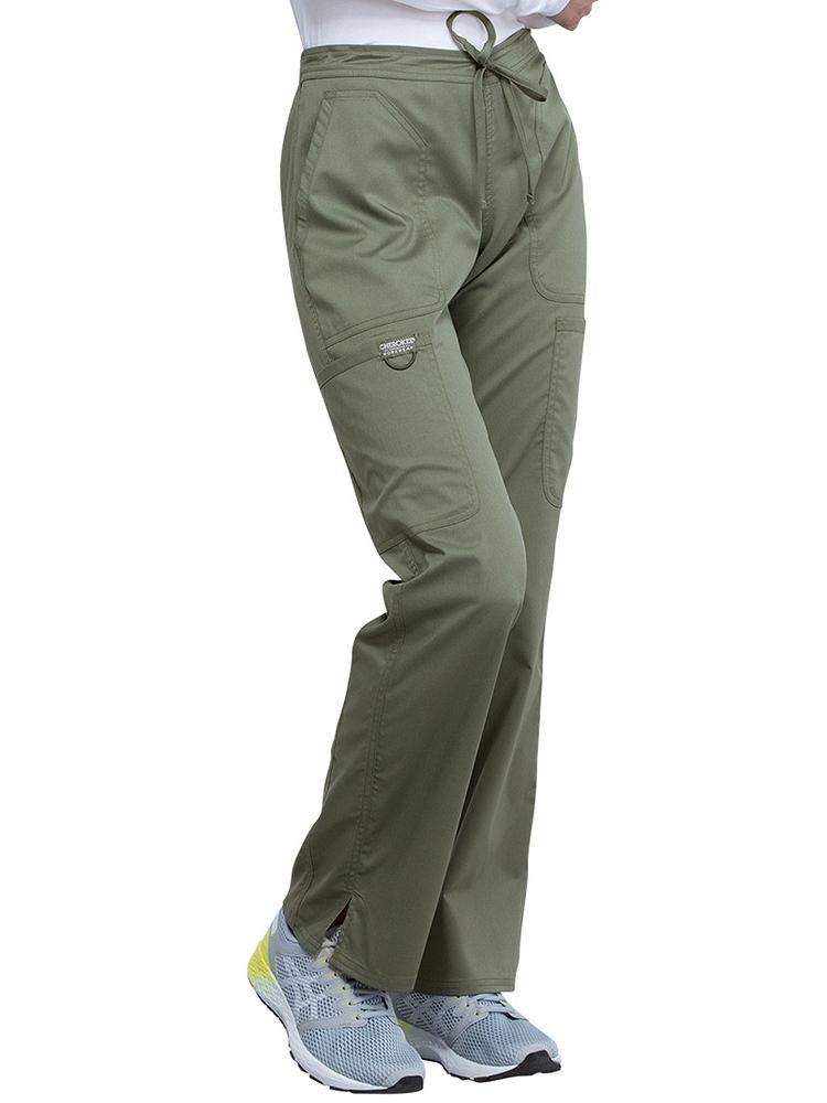 Cherokee Workwear Revolution Women's Mid Rise Moderate Flare Scrub Pant | Olive - Scrub Pro Uniforms