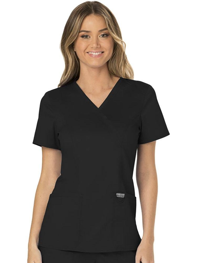 Cherokee Workwear Revolution Women's Mock Wrap Scrub Top | Black - Scrub Pro Uniforms