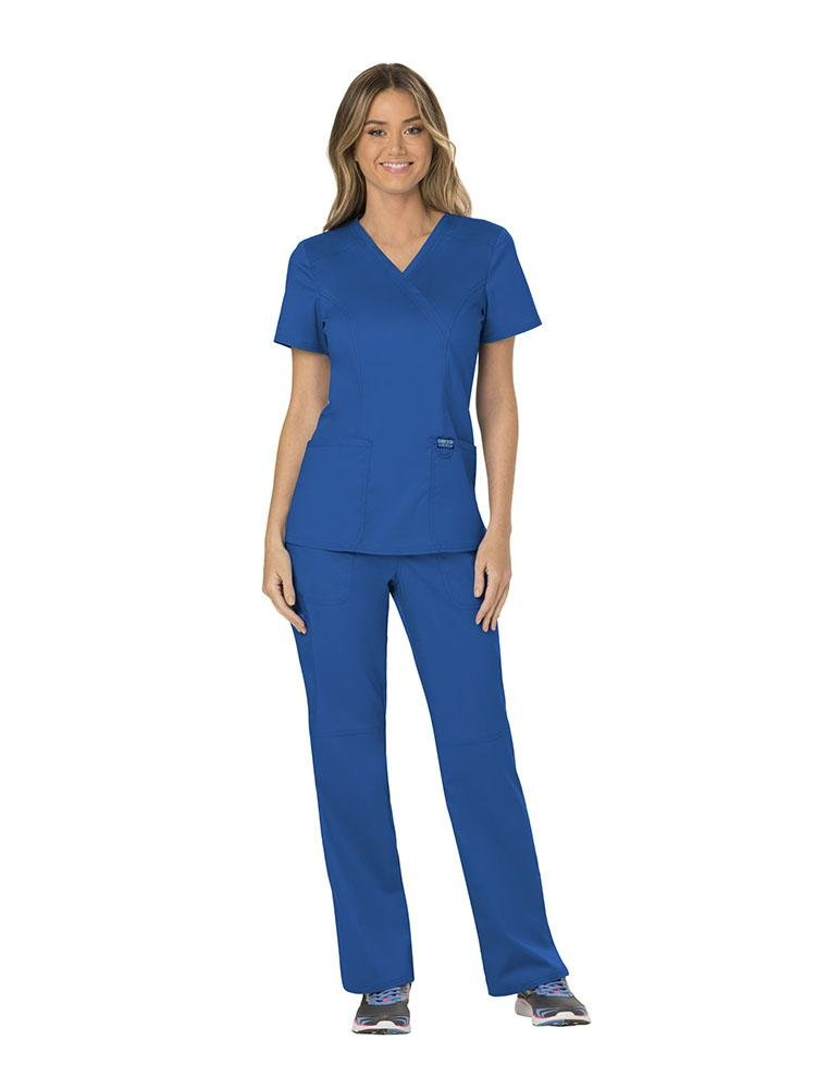 Cherokee Workwear Revolution Women's Mock Wrap Scrub Top | Royal - Scrub Pro Uniforms