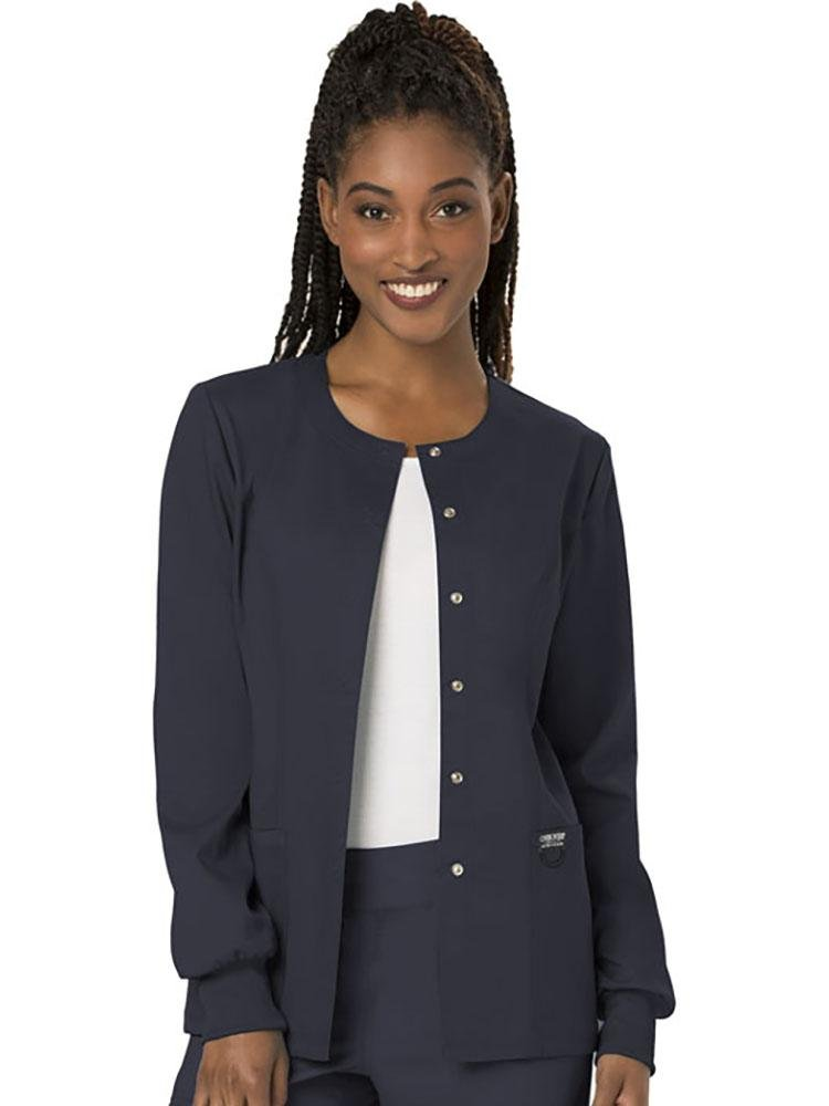 Cherokee Workwear Revolution Women's Snap Front Scrub Jacket | Pewter - Scrub Pro Uniforms