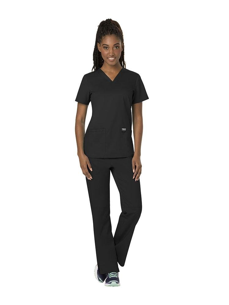 Cherokee Workwear Revolution Women's V-Neck Scrub Top | Black - Scrub Pro Uniforms