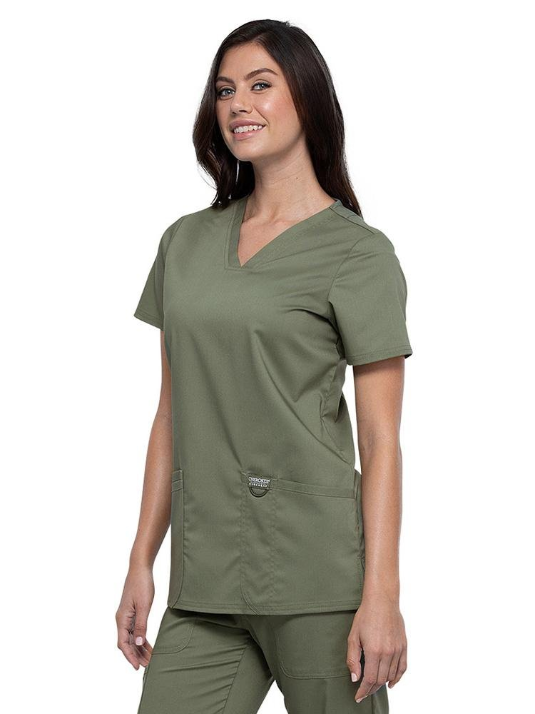 Cherokee Workwear Revolution Women's V-Neck Scrub Top | Olive - Scrub Pro Uniforms