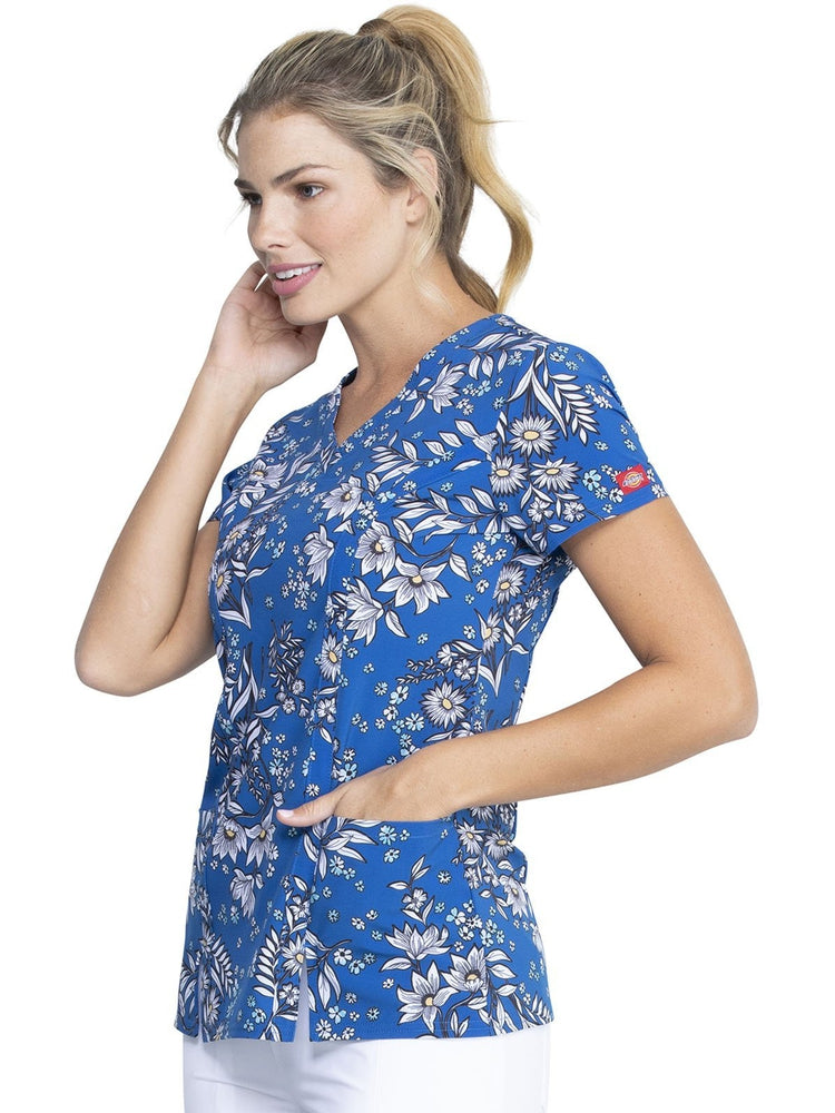 Dickies Women's V-Neck Print Scrub Top | Bright Like A Daisy - Scrub Pro Uniforms