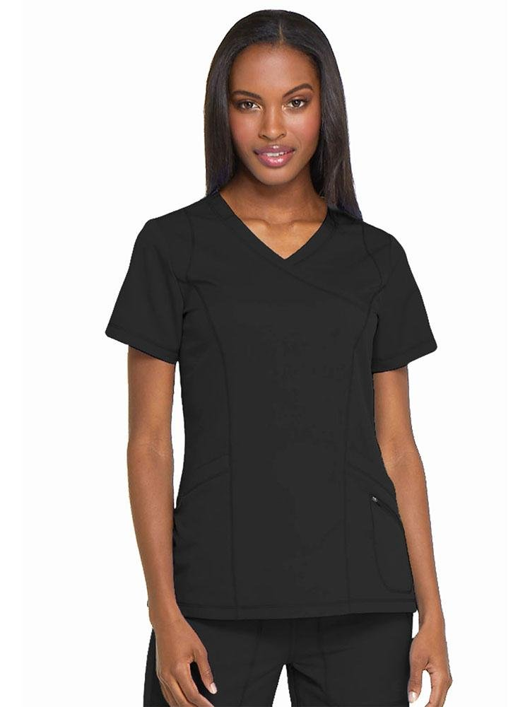 Dynamix Women's Mock Wrap Scrub Top | Black - Scrub Pro Uniforms