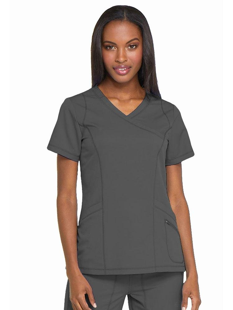 Dynamix Women's Mock Wrap Scrub Top | Pewter - Scrub Pro Uniforms