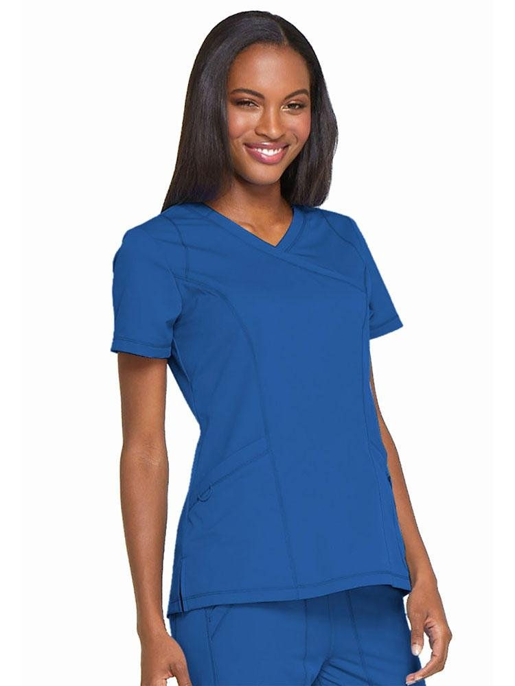 Dynamix Women's Mock Wrap Scrub Top | Royal - Scrub Pro Uniforms