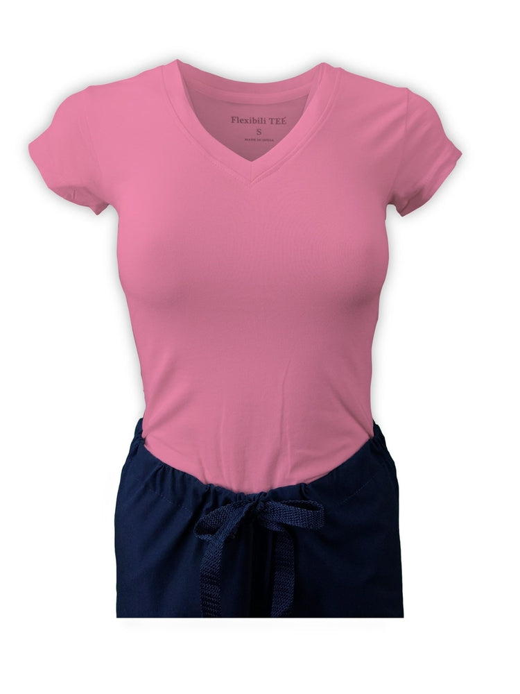 Flexibilitee Women's V-Neck Short Sleeve Tee | Baby Pink - Scrub Pro Uniforms