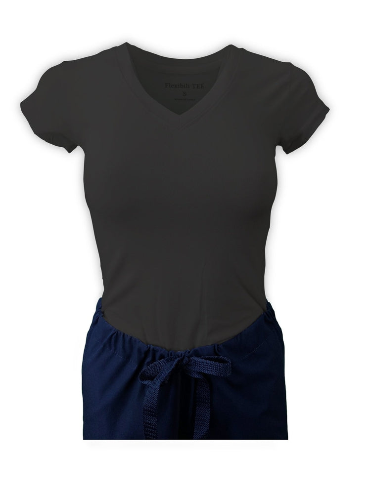 Flexibilitee Women's V-Neck Short Sleeve Tee | Charcoal - Scrub Pro Uniforms