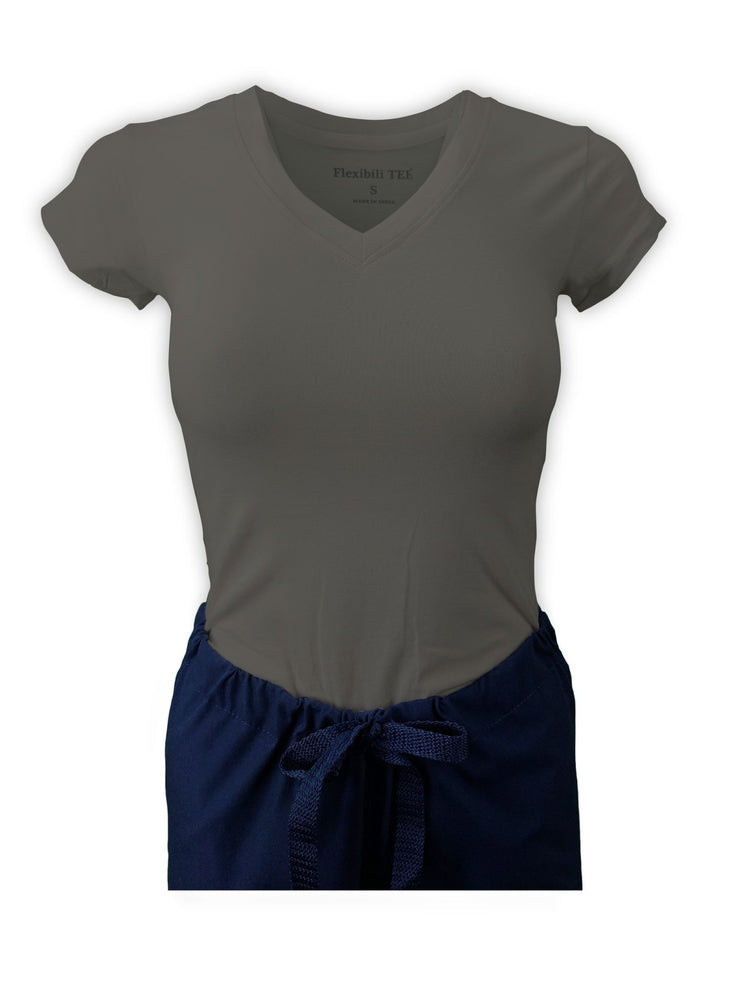 Flexibilitee Women's V-Neck Short Sleeve Tee | Heather Grey - Scrub Pro Uniforms