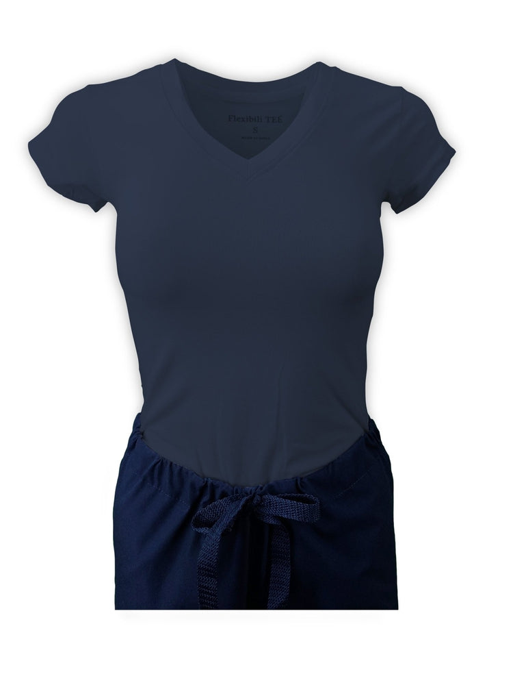 Flexibilitee Women's V-Neck Short Sleeve Tee | Navy - Scrub Pro Uniforms