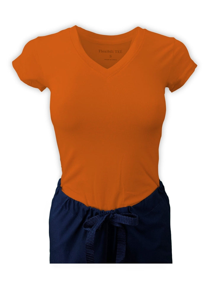 Flexibilitee Women's V-Neck Short Sleeve Tee | Orange - Scrub Pro Uniforms