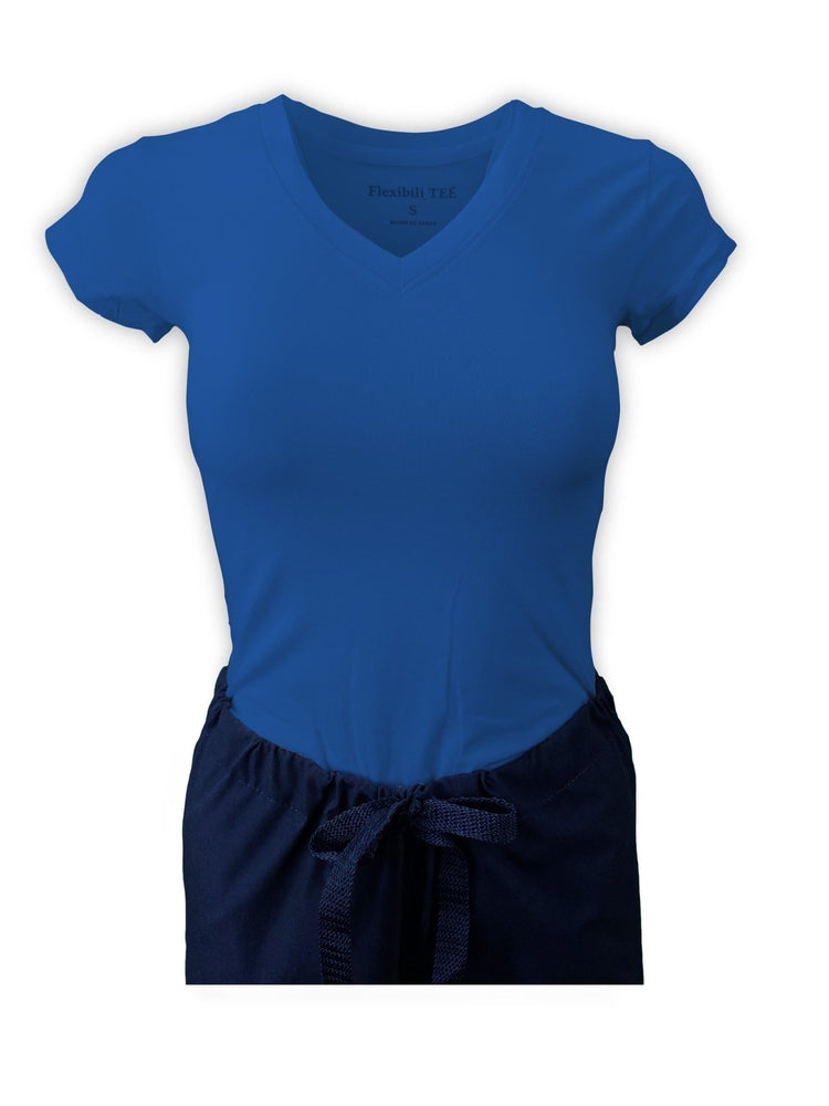 Flexibilitee Women's V-Neck Short Sleeve Tee | Royal - Scrub Pro Uniforms