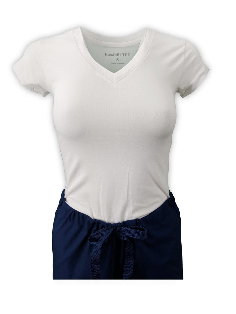 Flexibilitee Women's V-Neck Short Sleeve Tee | White - Scrub Pro Uniforms