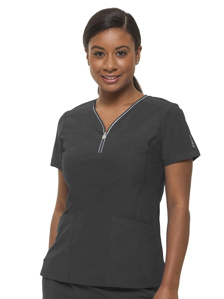 HH-360 Women's Sonia Zip Up Scrub Top | Pewter - Scrub Pro Uniforms