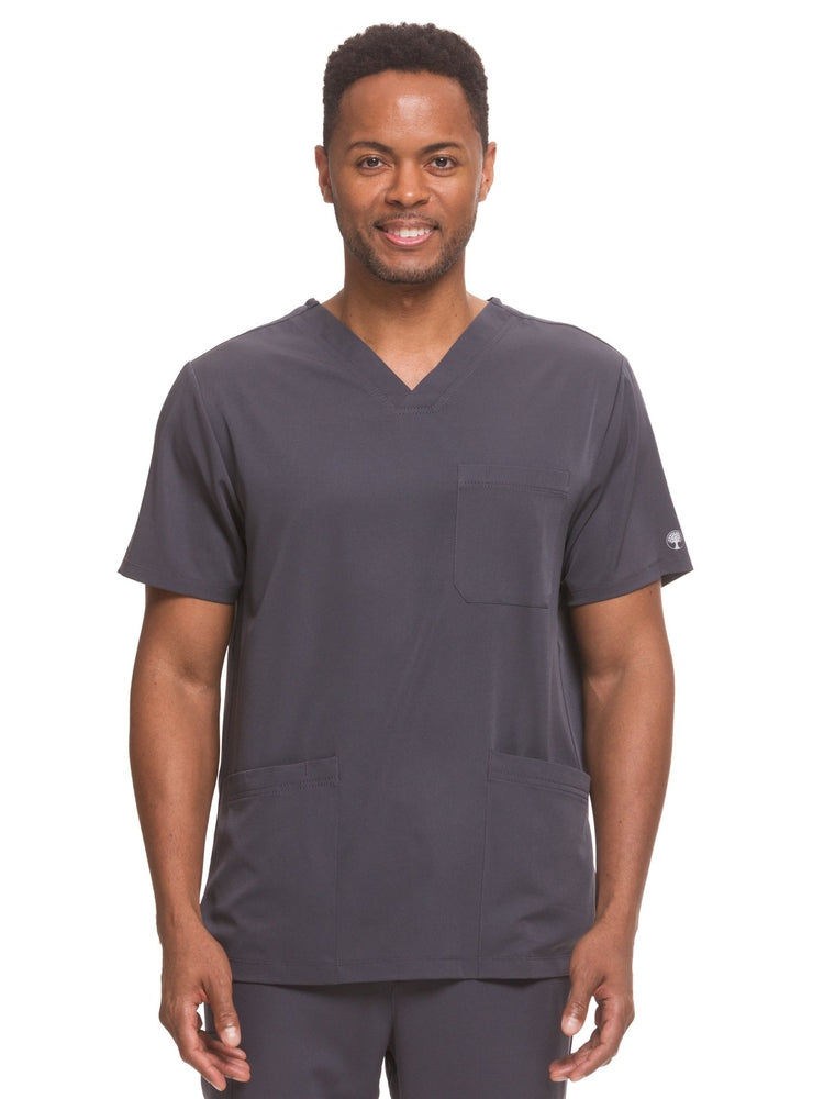 HH-Works Men's Matthew V-Neck Scrub Top | Pewter - Scrub Pro Uniforms