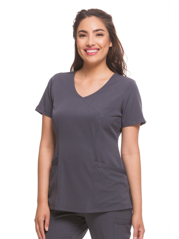 HH-Works Women's Madison Mock Wrap Scrub Top | Pewter - Scrub Pro Uniforms