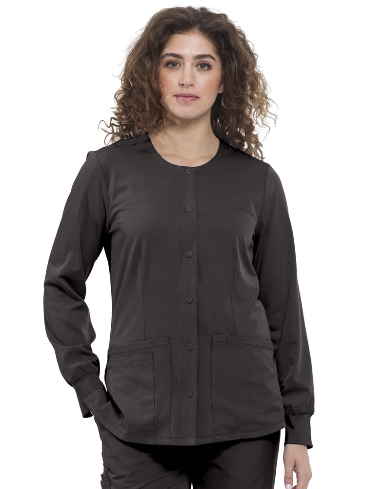 HH-Works Women's Megan Snap Front Scrub Jacket | Black - Scrub Pro Uniforms