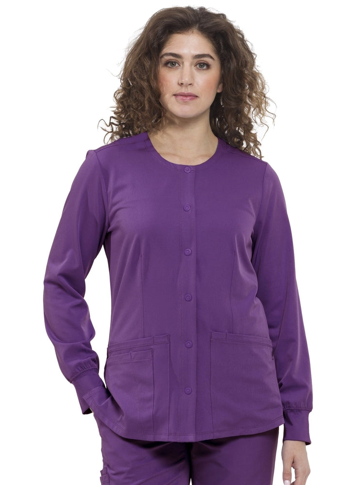 HH-Works Women's Megan Snap Front Scrub Jacket | Eggplant - Scrub Pro Uniforms