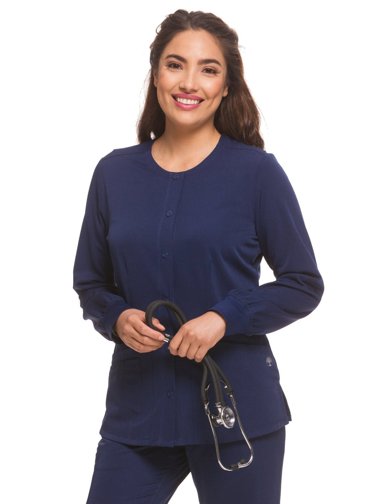 HH-Works Women's Megan Snap Front Scrub Jacket | Navy - Scrub Pro Uniforms