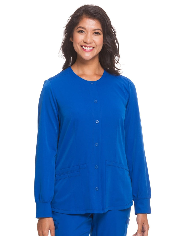 HH-Works Women's Megan Snap Front Scrub Jacket | Royal - Scrub Pro Uniforms