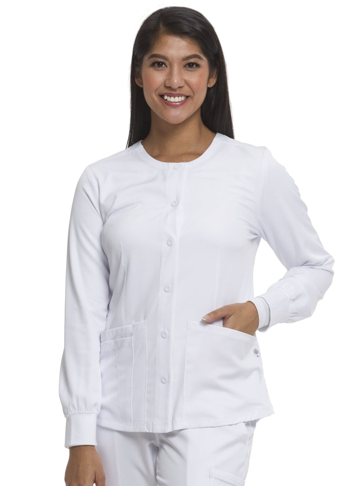 HH-Works Women's Megan Snap Front Scrub Jacket | White - Scrub Pro Uniforms