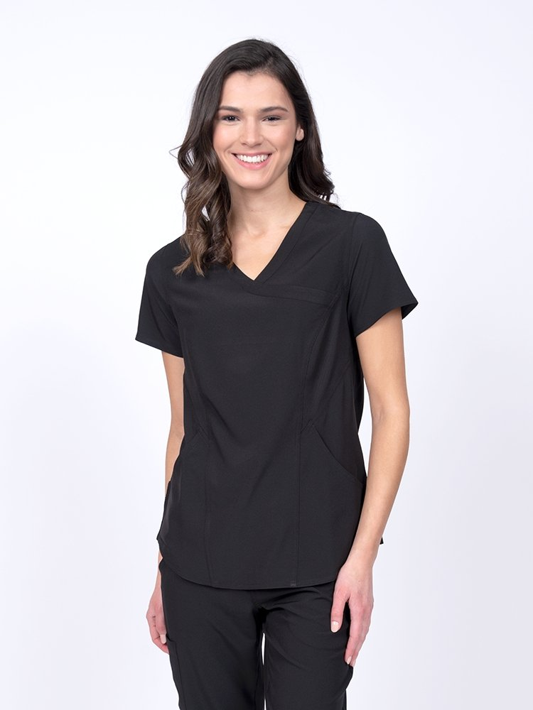 Meraki Sport Women's Mock Wrap Scrub Top | Black - Scrub Pro Uniforms