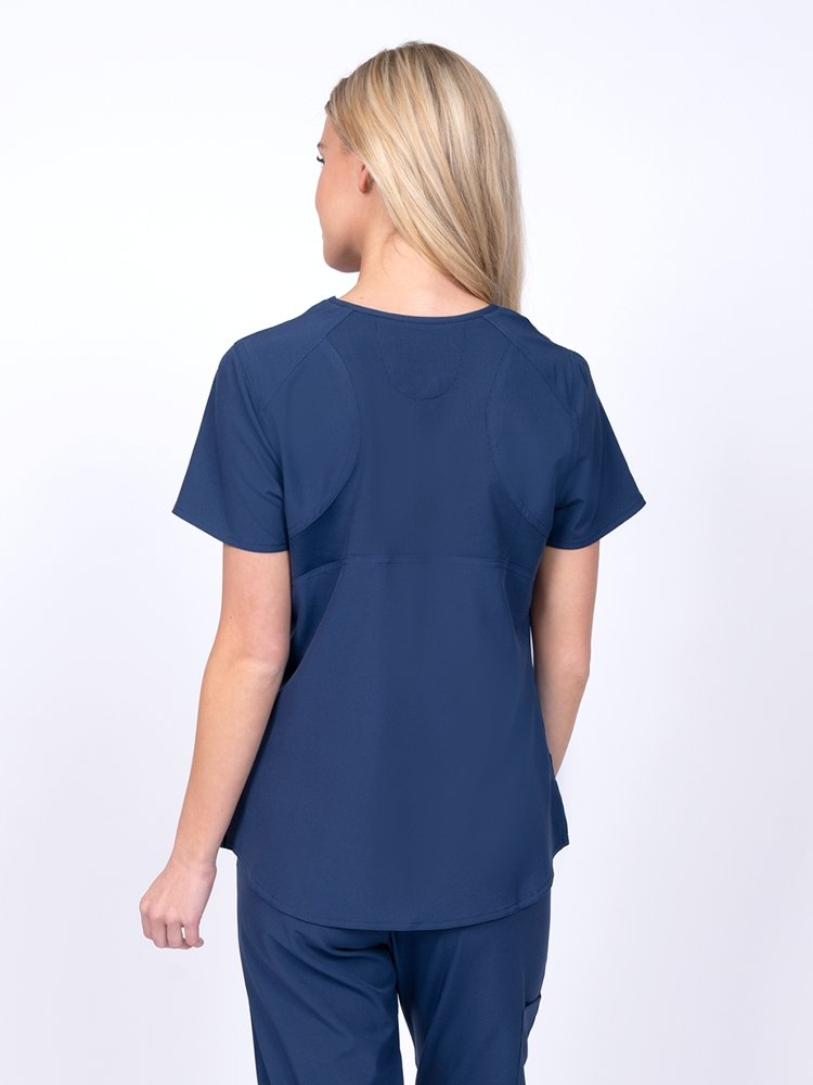 Meraki Sport Women's Mock Wrap Scrub Top | Navy - Scrub Pro Uniforms