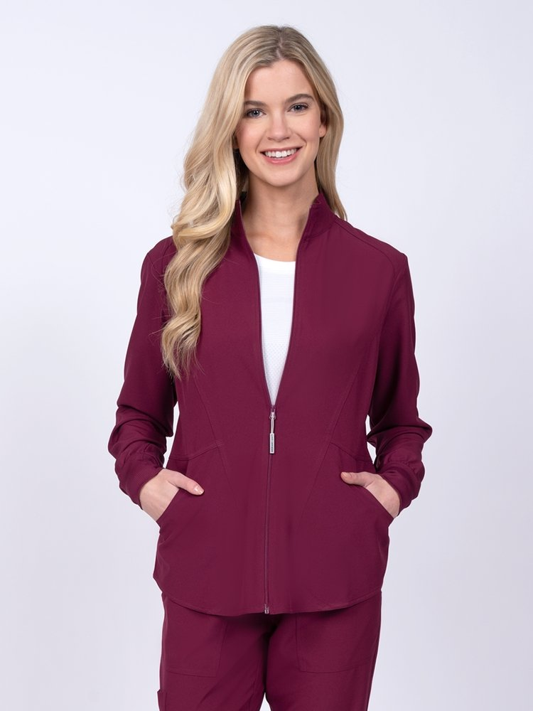 Meraki Sport Women's Zip Front Scrub Jacket | Wine - Scrub Pro Uniforms