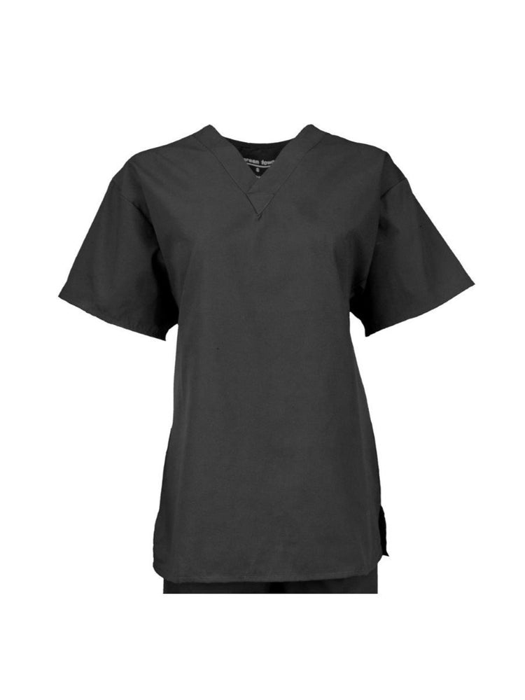 Pocketless Unisex V-Neck Scrub Top | Black - Scrub Pro Uniforms